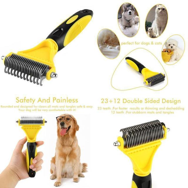 2019 New Stainless Double-sided Pet Cat Dog Comb Brush Professional Large Dogs Open Knot Rake Knife Pet Grooming Products 2