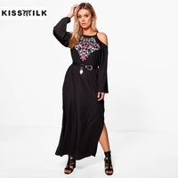 Kiss Milk Newest Fashion Europe And American Plus Size Long Dress Sexy Long Sleeve Off Shoulder