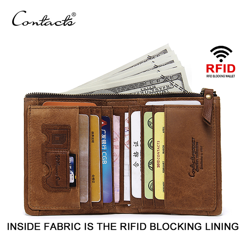 CONTACT'S RFID Blocking Bifold Slim Genuine Leather Thin Wallets for Men Purse ID/Credit Card Holder Fashion New Short Wallet ljl bullcaptain genuine leather men wallet rfid blocking vintage bifold wallets credit cards holder