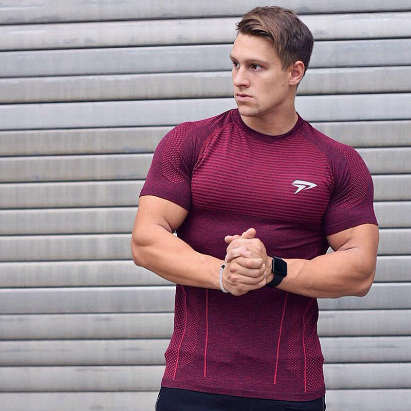 2020 New Men Running Tight Short T-shirt compression Quick dry t shirt Male Gym Fitness Bodybuilding jogging Tees Tops clothing 4