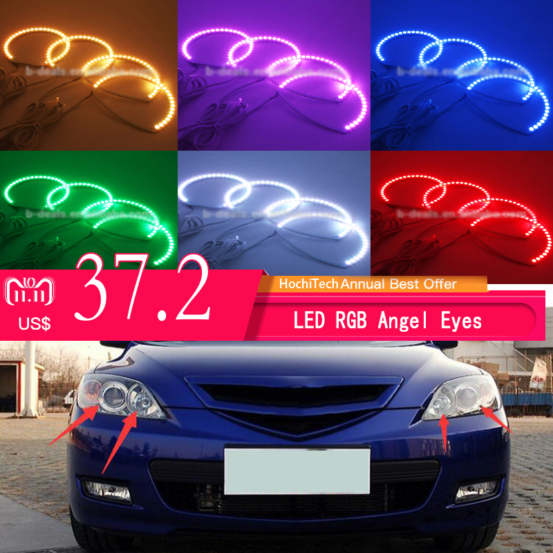 Super bright 7 color RGB LED Angel Eyes Kit with a remote control car styling For Mazda 3 mazda3 2002 - 2007 цена