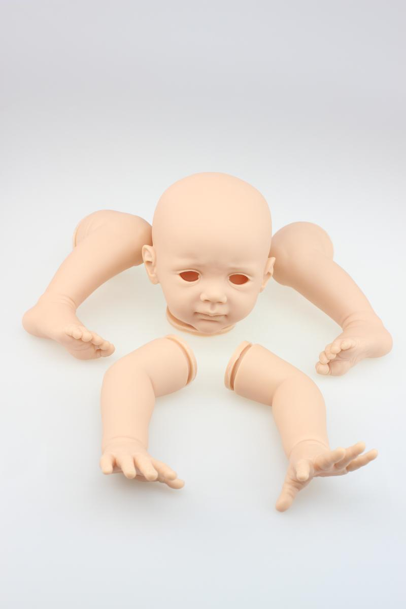 Fashion Silicone Vinyl 23Inch Reborn Babies Doll Kits Lifelike Head 3/4 Arms And Legs Realistic Dolls Parts Doll Accessories reborn baby doll kit diy a lifelike 26 28 doll reborn silicone vinyl toddler doll kits head arms legs