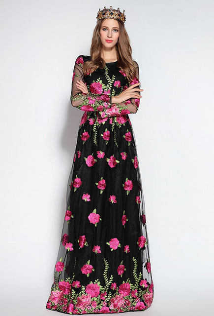 Luxury Floral Elegant Maxi Runway Dresses
