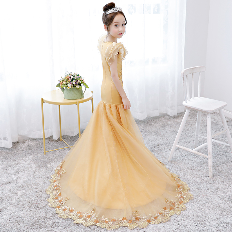 536badd6bc41 Luxury Gold Birthday Gown Girls Formal Mermaid Dress Long Tailing ...