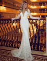 Don's Bridal Lace V-neck Wedding Gowns Full Sleeve Long Sleeves Sexy Backless Mermaid Weeding Dresses Vestido De Noiva