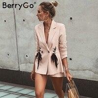 BerryGo Lace up work ladies suits blazer Women double breast business female office suit Elegant pink winter jacket coat outwear