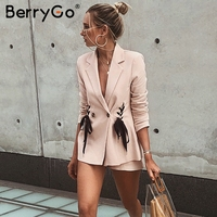 BerryGo Lace up work ladies suits blazer Women double breast business female office suit Elegant pink winter jacket coat outwear