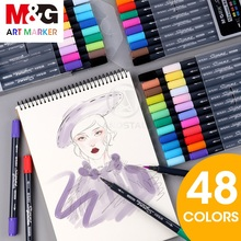 M&G 24 Colors Dual-tip Watercolor Art Markers art for drawing brush marker pen set color sketch Colored pens painting paint fine two hand watercolor markers stationery sketch markers drawing caligraphy pen water color brush pen