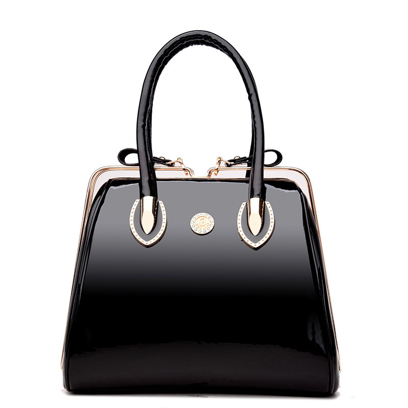 f30fdd17145e Luxury High Quality Black Patent Leather Women Bag Ladies Famous ...