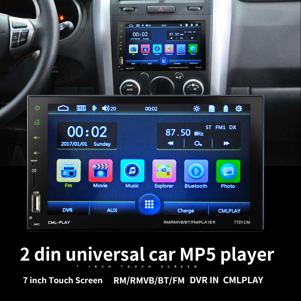LaBo High Power 7'' 2Din HD Car Radio MP5 Player In-Dash Touch Screen Bluetooth Rear View Camera Car Stereo FM + Wireless Remote 7020g 7 touch screen 2 din car radio dvd mp5 video player rear camera bluetooth gps navigation steering wheel remote control
