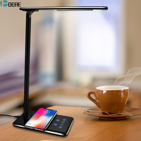 DCAE Table Desk LED Lamp Light Qi Wireless Charger for iPhone 8 X XS Max XR Fast Desktop Wireless Charging Pad for Samsung S9 S8