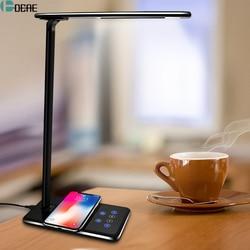 Dcae mesa conduziu a lâmpada de luz qi carregador sem fio para o iphone 11 8 x xs max xr rápido desktop almofada carregamento para samsung s10 s9 s8