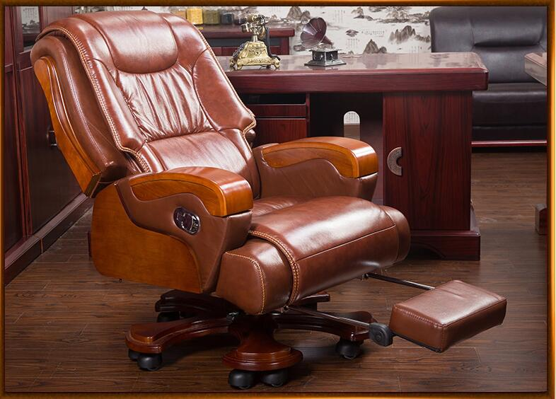 Solid Wood Big Shift Chair Genuine Leather Boss Chair Can Lie Massage Office Chair Lift Swivel Chair Home Computer Chair.