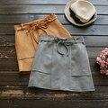 De color caqui delgada Salvaje decoración de la correa de gamuza color sólido faldas mori chica otoño 2016