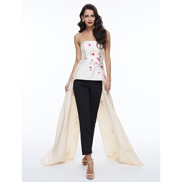 TS Couture линии без бретелек Асимметричный атласная Формальное вечернее платье с Вышивка складки