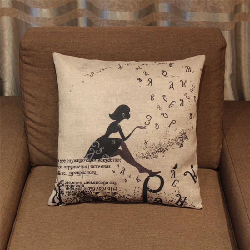 Amazing Flying Letter Little Girl Cushion Cover Vintage Cotton Linen Throw Pillow Covers Decorative Pillow For Sofa Chair Car Seat Bralicious Painted Fabric Chair Ideas Braliciousco