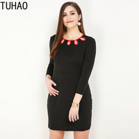TUHAO 2019 Spring Black Sexy Pleated Hollow out elegant black Mini Dresses plus size 7XL 6XL 5XL woman office lady dress RL