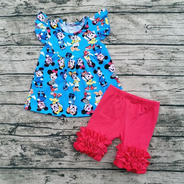 c792ad8cc851 2018 Wholesale Baby Girl Flutter Mickey Pearl Top With Icing Shorts ...
