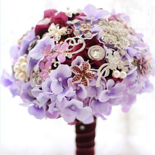 Элегантный фиолетовый Гортензия брошь букет Невесты Невесты Невесты Букеты ручной кристалл с Цветами в Руках Свадьба DIY