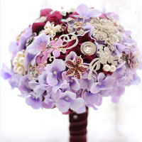 Elegant purple Hydrangea brooch bouquet Bridal Bride Bridesmaid Bouquets handmade crystal Holding Flowers Wedding Party DIY