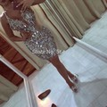 Shiny Beading Sequined Cocktail Dresses 2017 Sexy V Neck Spaghetti Straps Prom Party Gowns Custom Made Cheap Robe De Cocktail