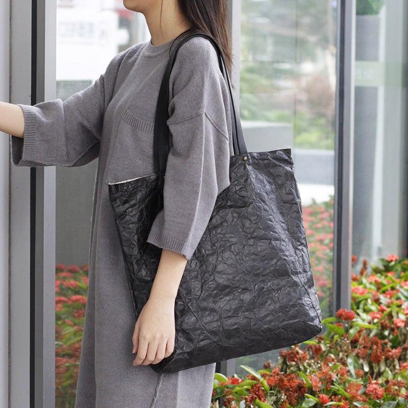 New Europe Version Of The Retro Bag Kraft Paper Shoulder Bag Canvas Material Women Big Tote Bag