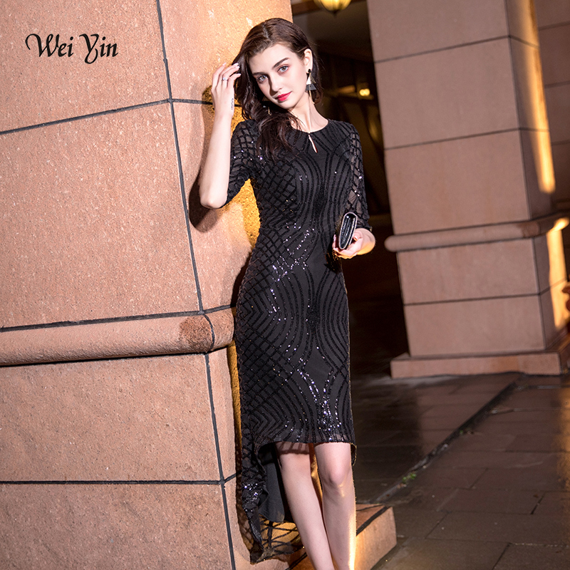 Wei Yin 2020 Black O Neck Sequin Gown Sexy Mermaid Dress Elegant Short Evening Dresses Vestido Formal Evening Dresses WY1482