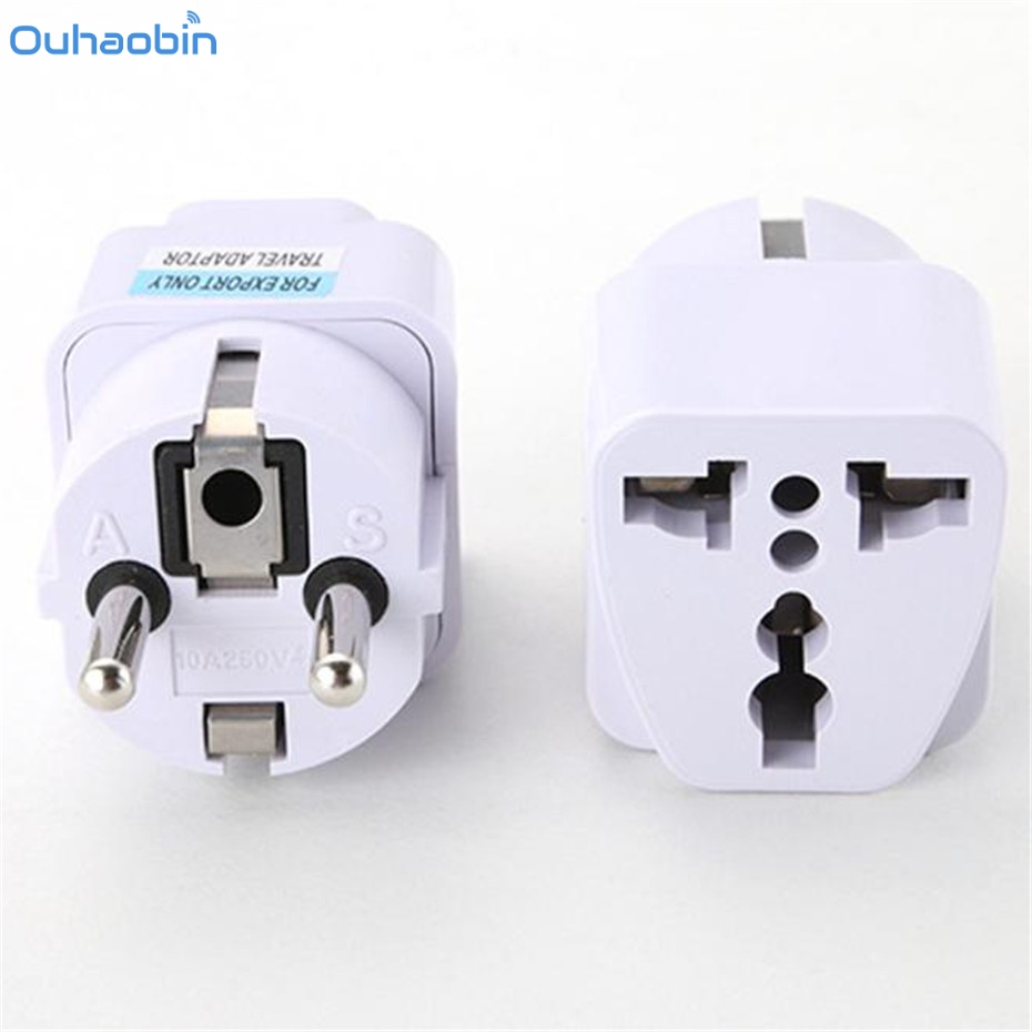 Ouhoabin Universal UK US AU to EU AC Power Socket Plug Travel Charger Adapter AC Power Plug adapter Converter Dec12 многофункциональный универсальный world travel au великобритания сша в ес ac power plug адаптер конвертер a57