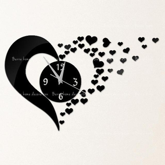 3D diy mirror wall clocks lovely hearts vintage bedroom wall art ...