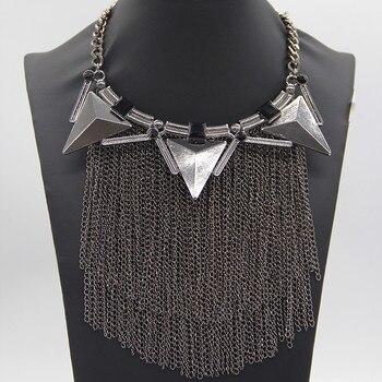 206adc058572 Vestido de moda borlas collares gargantilla Collar de cadena larga declaración  collares y colgantes accesorios de mujer