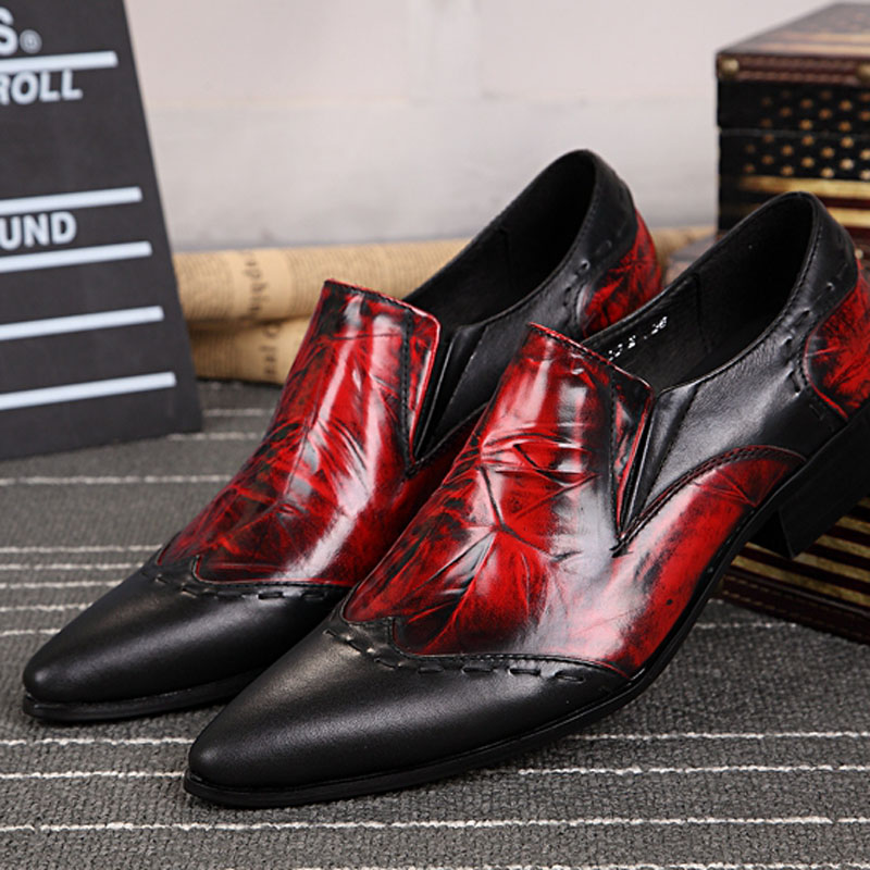 shoes men red Gentleman Classic Business Genuine Leather Oxfords Shoes New Pointed Toe Men Flats Wedding Party Dress Shoes 2017