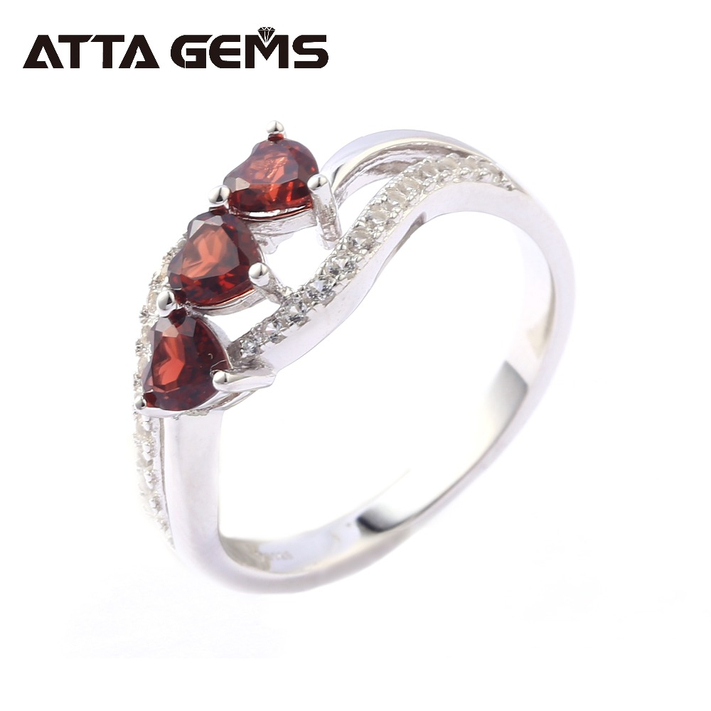 Natural Red Garnet Hearts Silver Rings for Women Wedding Engagement Silver Rings 1.6 Carats Natural Garnet Gemstone Rings Natural Red Garnet Hearts Silver Rings for Women Wedding Engagement Silver Rings 1.6 Carats Natural Garnet Gemstone Rings