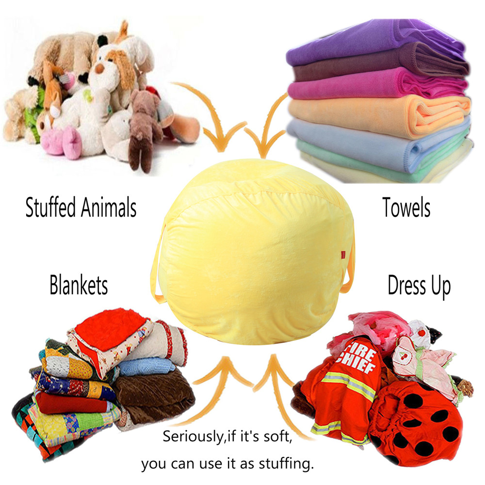Kids Stuffed Animal Plush Toy Storage Bean Bag Soft Pouch Stripe Fabric Chair Large Capacity Home Storage Bags Container SA65