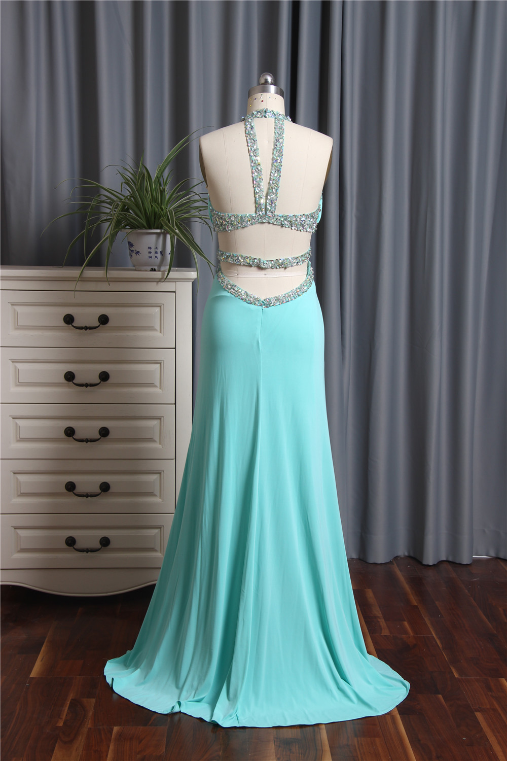 New Arrival 2017 Prom Dresses Long Mermaid Beaded Halter Neck ...