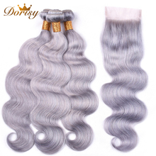 Grey Color Brazilian Hair Body