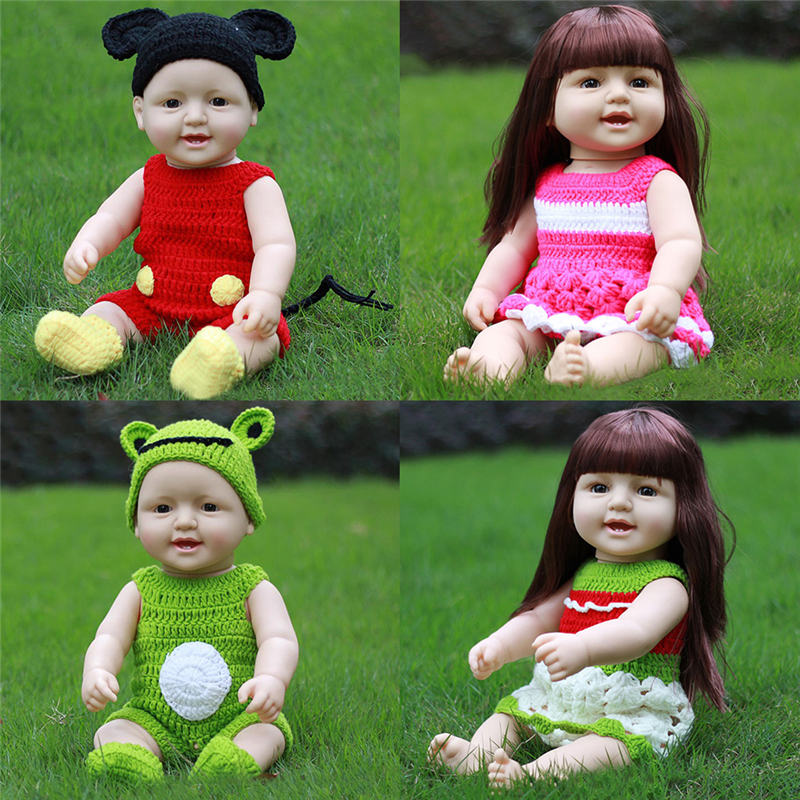 Baby Doll Toy 50CM/19.69in Simulation Soft Rubber Accompanying Porcelain with Smiling Face Expression the for Baby Toys