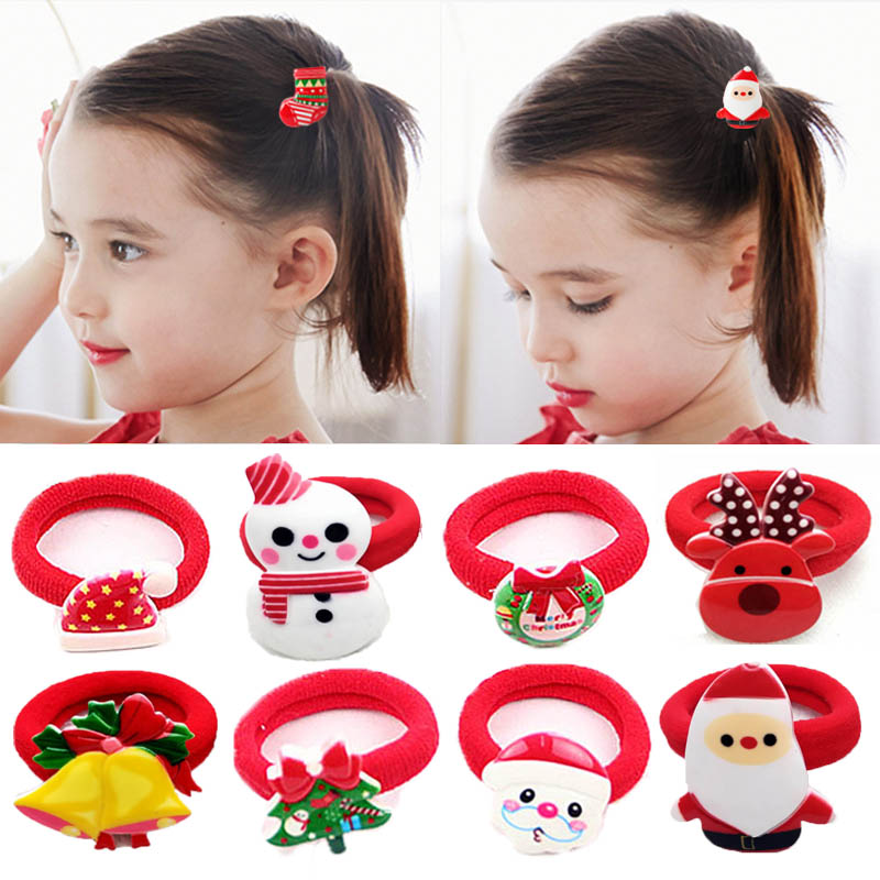 2PCS/Pair Fashion Girls Popular Christmas Hair rope Tree Santa Bell Snowman Kids Elastic Hair band Lovely Hair Accessories 2017 new fashion hair clips for girls santa claus christmas tree snowman elk pattern xmas hairpins barrettes hair accessories