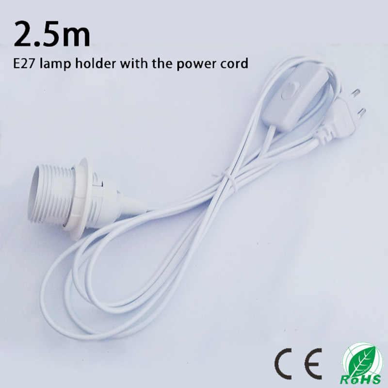 2.5m Suspension E27 lamp holder,The power cord length of 2.5m, EU plug and switch ,White luster E27 base with external thread
