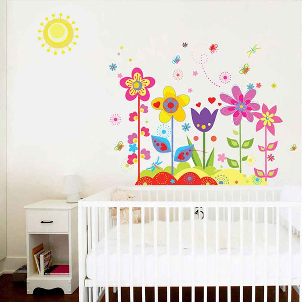 Flower Butterfly Wall Stickers Kids Girls Bedroom Wall Decals Removable  Decal Poster Nursery Art Mural Home DIY Decoration