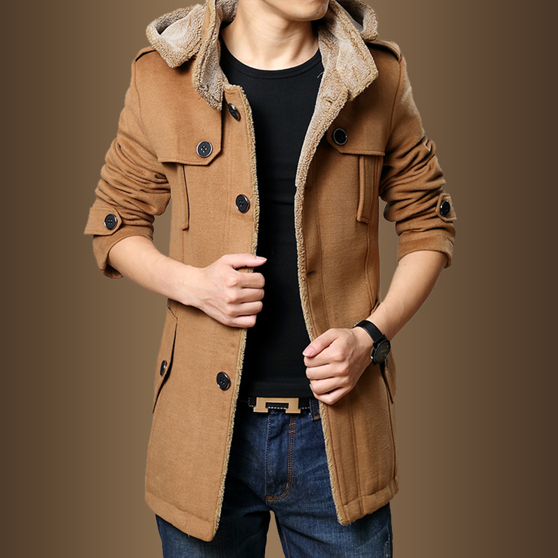 WOQN Trench Coats Men Winter Thick Fleece Slim Fit Hooded Trench Coat Long Casual
