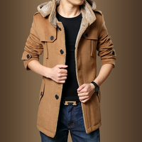 WOQN Trench Coats Men 2017 Winter Fashion Men Thick Jackets Fleece Slim Fit Hooded Trench Coat Long Casual Jackets Men Plus Size