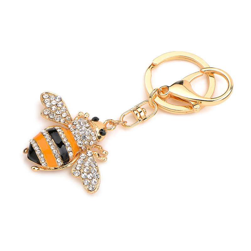 Inokeey Alloy Yellow Enamel Rhinestone Bee Key Chain Կանայք - Նորաձև զարդեր - Լուսանկար 4