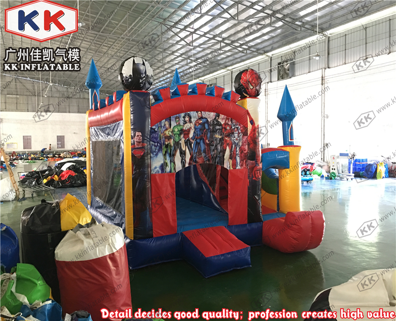 party combo jumpers super heros inflatable castle slide combo