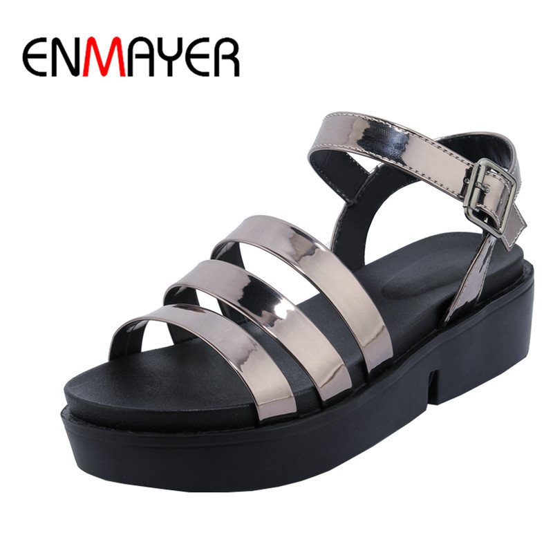 ФОТО ENMAYER PU Material Buckle Strap Summer Fashion Sandals for Women High Heels Casual Dress Shoes Woman Platform Women Sandals