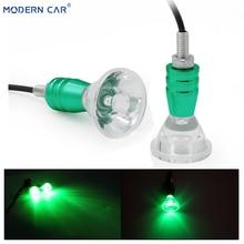 MODERN CAR 2x Green Motorcycle LED Lamp Motor Rearview Mirror Atmosphere Lights 12V Eagle Eye Horns Motorbike Decorative Lamps