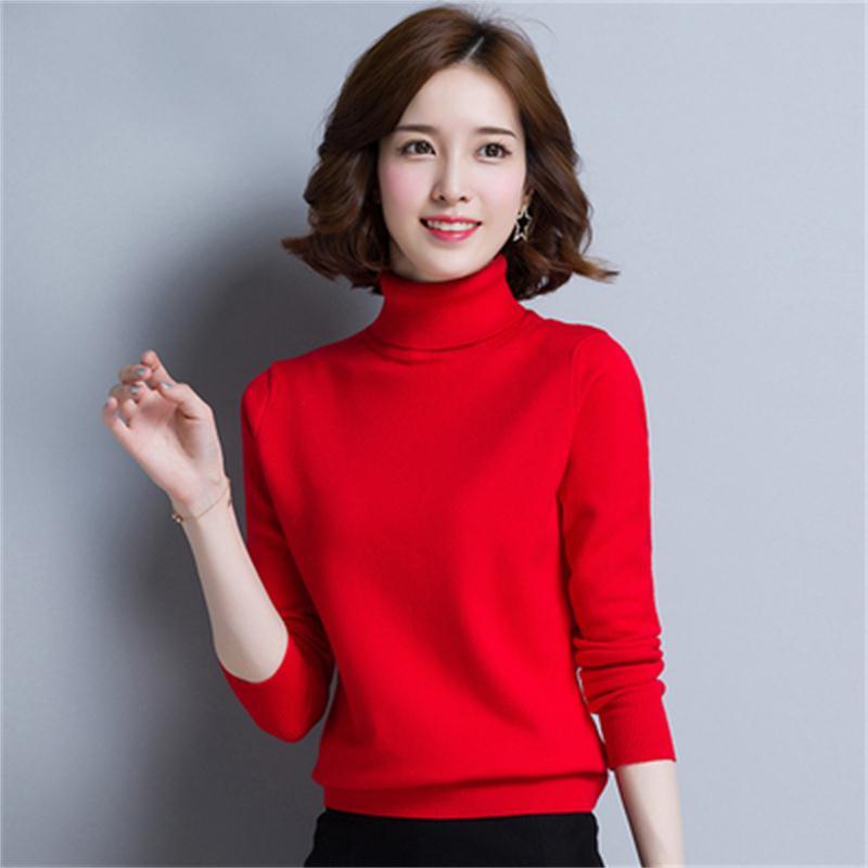 Pull femmes hiver nouveau super feu pull à col roulé femme cachemire ensembles de courte couleur unie chaud tricot pull à fond