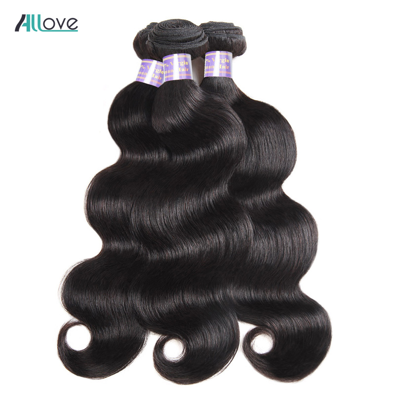 Nye brasilianske Remy Body Wave Hair Bundles 1pc 100% Remy Human Hair - Menneskelig hår (for svart)