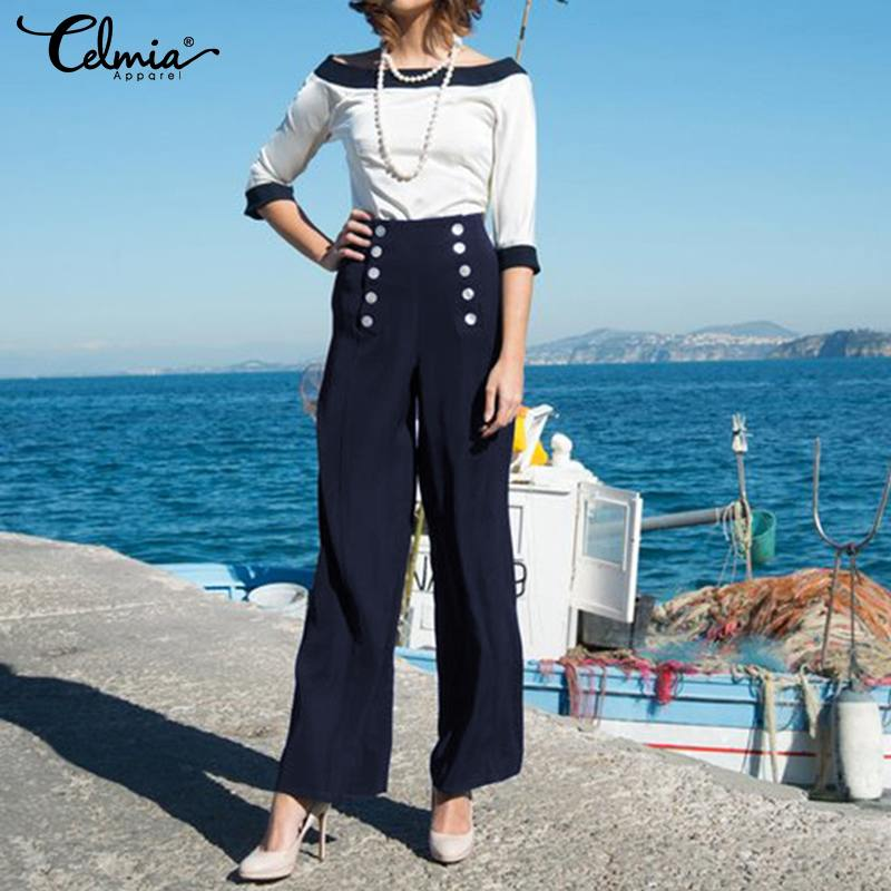 2019 Women's   Pants   Celmia Plus Size Pantalone Femme Stretchy High Waist   Wide     Leg     Pants   Office Ladies Long Trousers Solid Palazzo