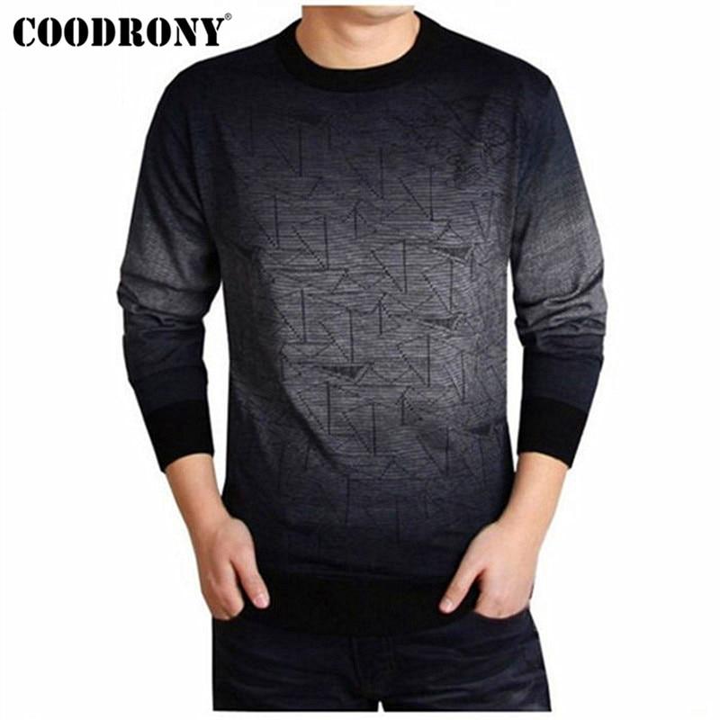 Coodrony suéter de caxemira masculino roupas de marca dos homens blusas imprimir camisa casual outono lã pulôver masculino o-pescoço puxar homme topo 613