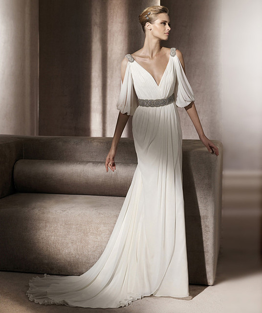 Grecian Style Wedding Gown: Vestido De Casamento Elegant V Neck Open Half Sleeves